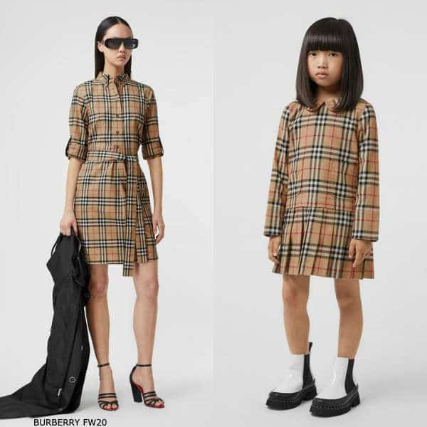 Burberry Girls Mini Me Beige Peter Pan Collar Vintage Check Cotton Dress