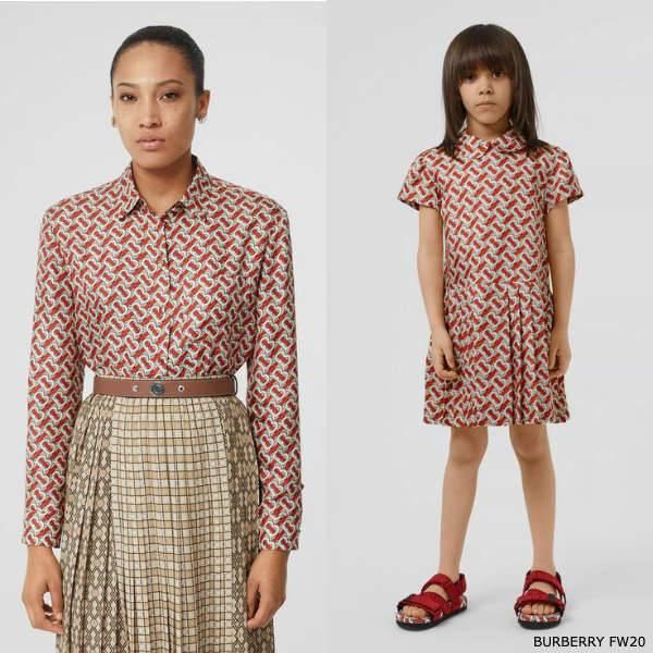 Burberry Girls Mini Me Red Monogram Silk Dress