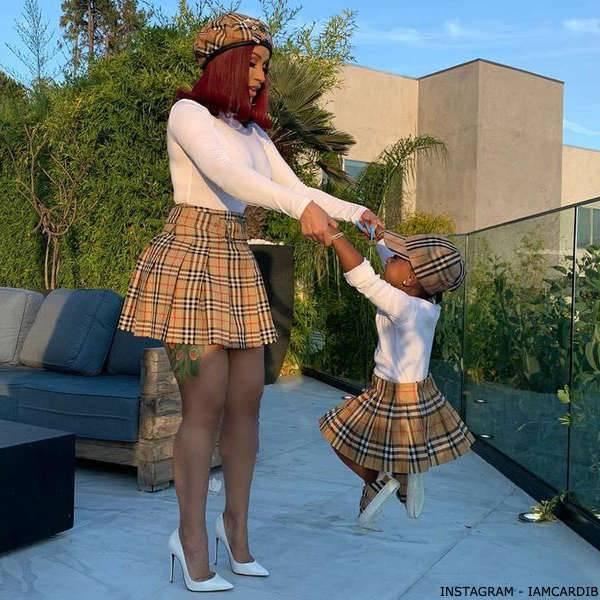 Cardi B's Daughter Kulture Cephus Burberry Baby Girl Mini Me Beige Pleated Vintage Check Skirt