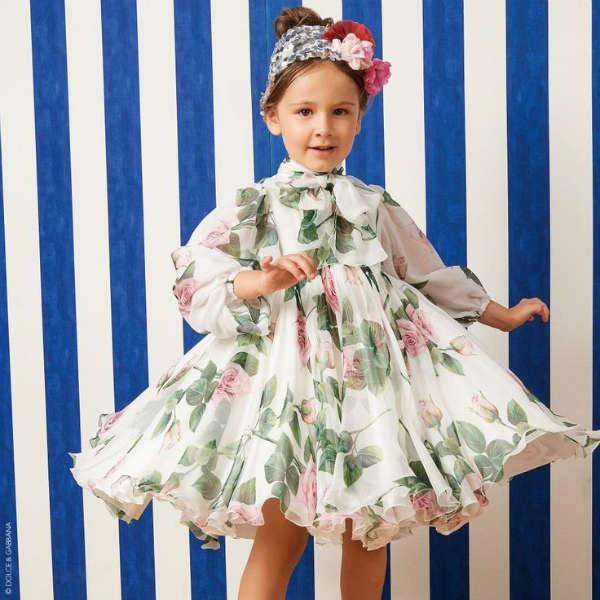 DOLCE & GABBANA Girls Mini Me White & Pink Tropical Rose Print Silk Dress