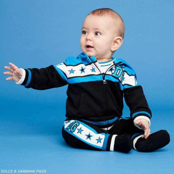 Dolce & Gabbana Baby Boy Blue & Black DG Royals Logo Tracksuit