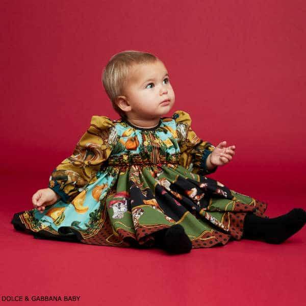 Dolce Gabbana Baby Girl Mini Me In The Wood Fall Print Dress