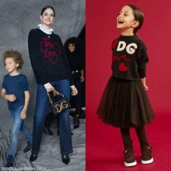 Dolce Gabbana Girls Mini Me Brown DG Love Heart Wool Cashmere Sweater
