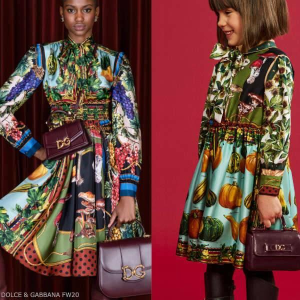 Dolce Gabbana Girls Mini Me In The Woods Fall Print Twill Dress