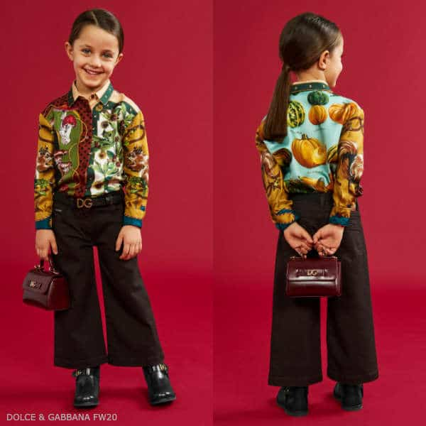 Dolce & Gabbana Girls Mini Me In The Wood Fall Print Silk Blouse