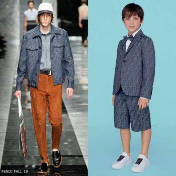 Fendi Boys Mini Me Blue Chambray FF Logo Blazer Jacket Short Suit