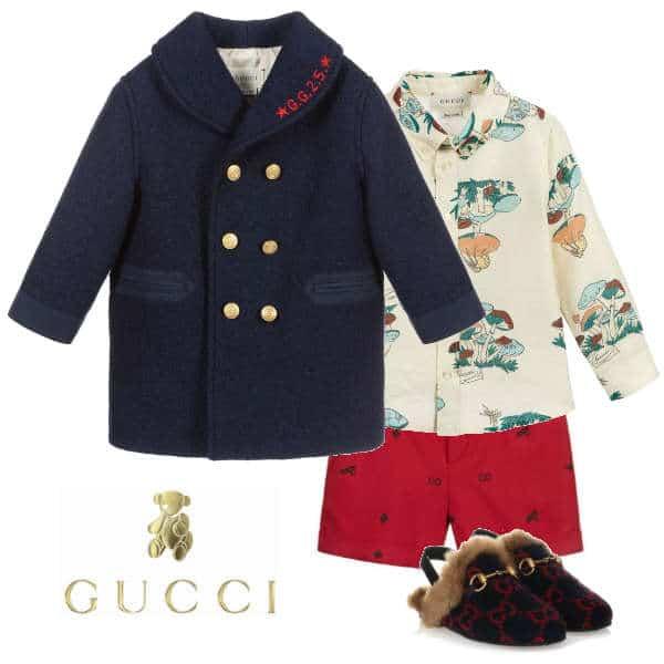 Gucci Baby Boy Mini Me Navy Blue Wool Coat