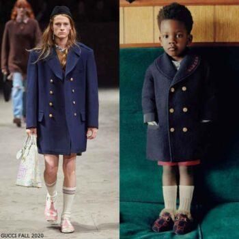 Gucci Baby Boys Mini Me Navy Blue Wool Pea Coat