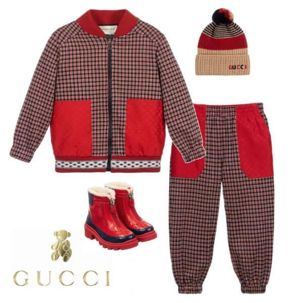 Gucci Boy Mini Me Red & Blue Check Jacket & Pants