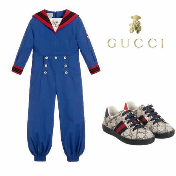 Gucci Girl Mini Me Blue Red Cotton Jumpsuit