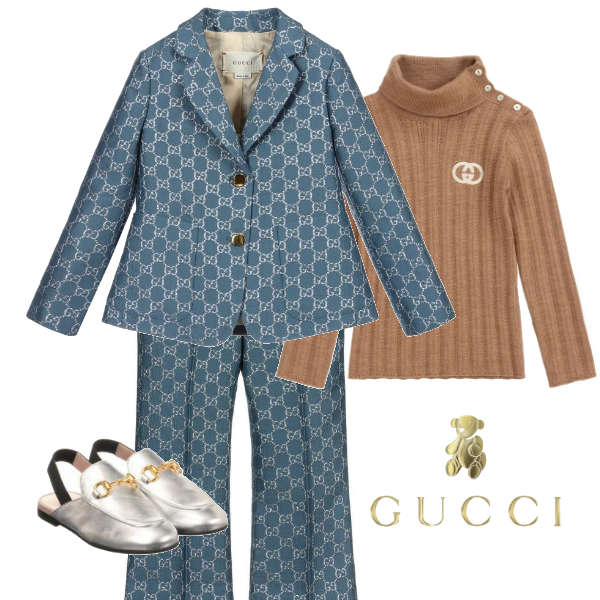 Gucci Girl Mini-Me Blue & Silver GG Blazer Jacket & Pant Suit