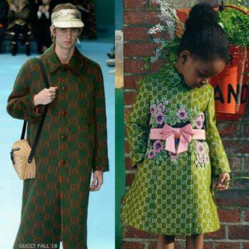 Gucci Girl Mini Me Green GG Logo Silk & Wool Coat