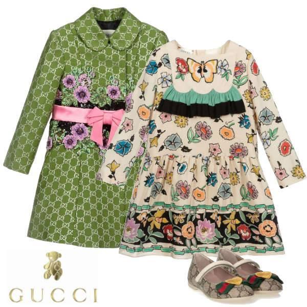 Gucci Girls Green GG Logo Silk Wool Coat Pink Bow