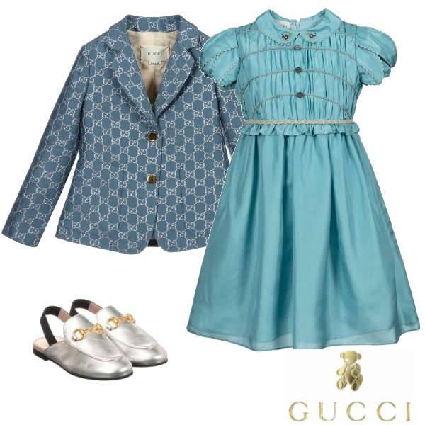 Gucci Girls Mini Me Blue Pleated Body Silk Dress