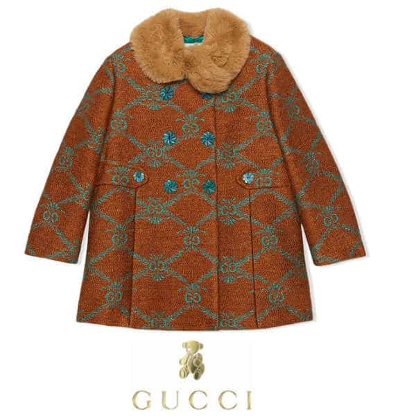 Gucci Girls Mini-Me Brown GG Print Double-Breasted Coat