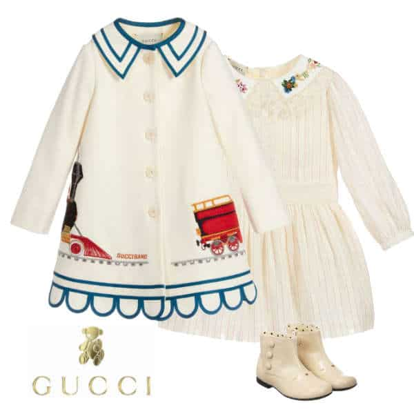Gucci Girls Mini-Me Ivory Blue Trim Airplane Applique Wool Coat