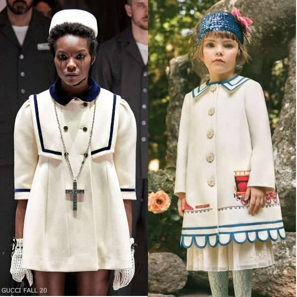 Gucci Girls Mini Me Ivory Blue Trim Airplane Applique Wool Coat