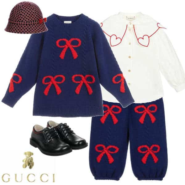 Gucci Girls Mini Me Navy Blue & Red Bow Wool Knit Sweater & Pants