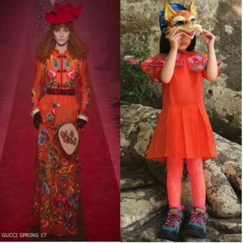 Gucci Girls Mini Me Orange & Embroidered Pink Flower Silk Organza Dress