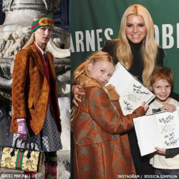 Jessica Simpson & Daughter Maxwell - Gucci Girls Mini Me Brown GG Print Coat