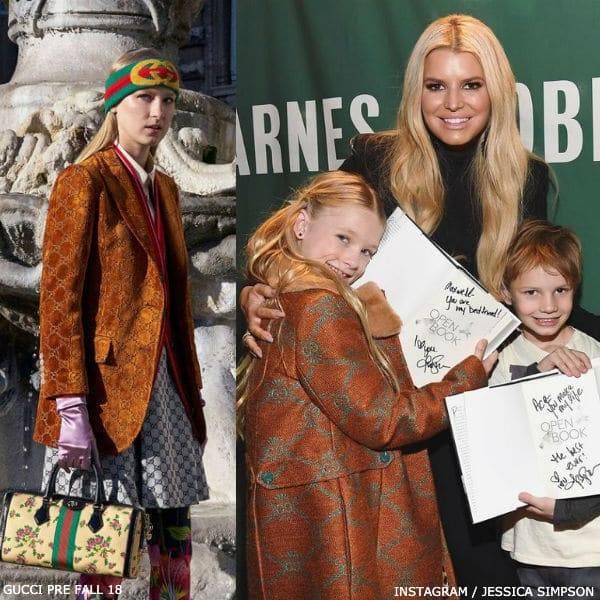 Jessica Simpson & Daughter Maxwell - Gucci Girls Mini Me Brown GG Print Coat