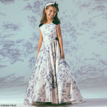 Junona Girls Ivory & Blue Floral Toile de Jouy Full Length Party Dress