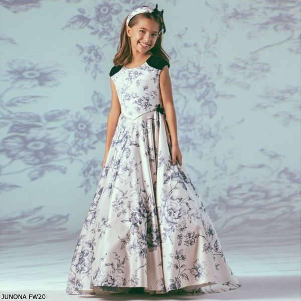 Junona Girls Ivory & Blue Floral Toile de Jouy Full Length Party Dress