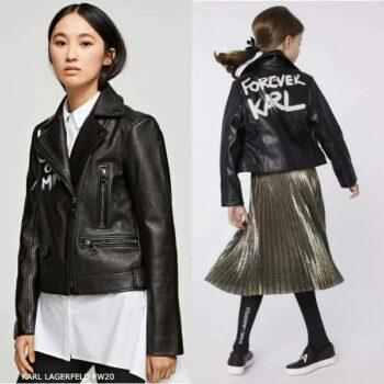 Karl Lagerfeld Girls Mini Me Forever Karl Leather Jacket Gold Pleated Skirt