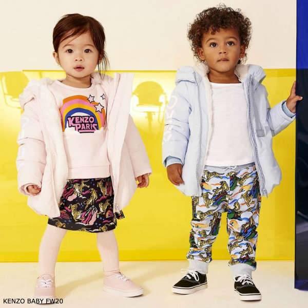 Kenzo Baby Pink Rainbow Logo Shirt Ventura Print Skirt