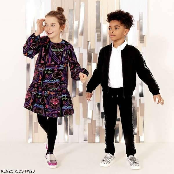 Kenzo Kids Girls Black Vegas Print Viscose Dress Boys Black Logo Jacket