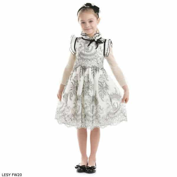Lesy Girls Black & Ivory Embroidered Silk Party Dress