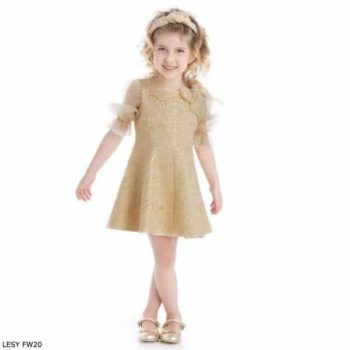 Lesy Girls Gold Brocade Tulle Sleeve Party Dress