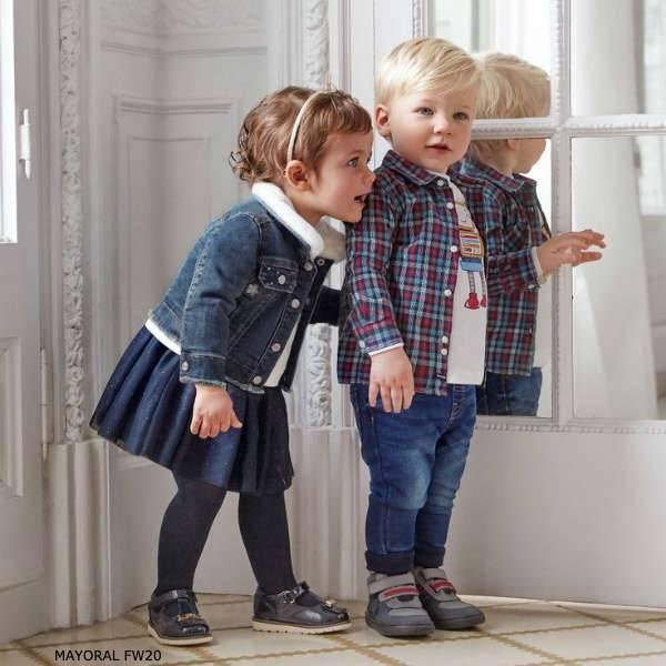 Mayoral Baby Girls Faux Fur Collar Denim Jacket Boys Blue Red Check Shirt