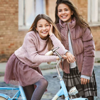 Mayoral Girls Pink Velvet Jacket Grey Check Skirt