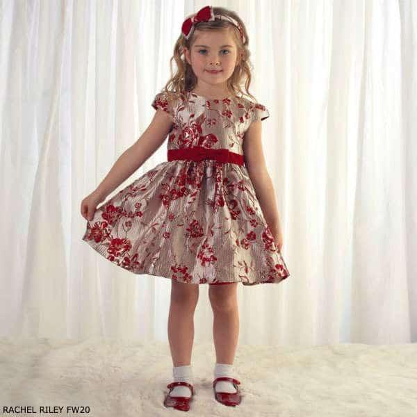 Rachel Riley Girls Gold & Red Damask Flower Print Party Dress
