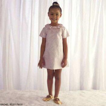 Rachel Riley Girls Ivory Gold Stars Damask Print Shift Party Dress