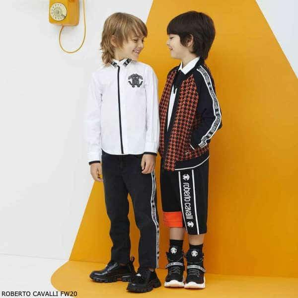 Roberto Cavalli Boys White Monogram Logo Shirt Black Denim Logo Jeans