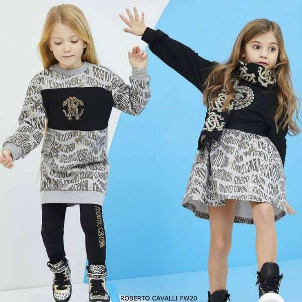 Roberto Cavalli Junior Girls Grey Gold & Black Logo Dress