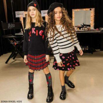 Sonia Rykiel Girls Mini Me Black Logo Sweatshirt Red Stripe Skirt