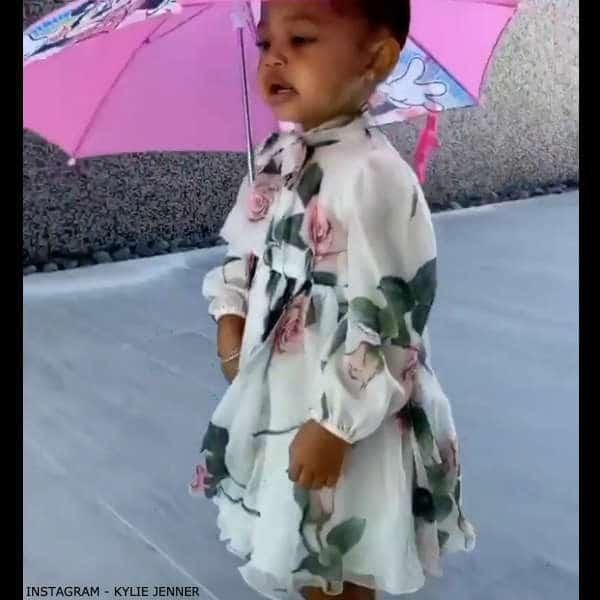 Stormi Webster - DOLCE & GABBANA Girls Mini Me White & Pink Tropical Rose Print Silk Dress