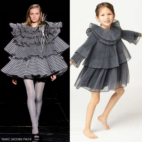 THE MARC JACOBS GIRLS MINI ME BLACK & GREY PLEATED CHIFFON DRESS