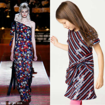 The Marc Jacobs Girls Mini Me Red Pink & Blue Striped Sequin Dress