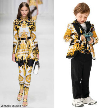 Young Versace Boys Mini Me Black & Gold Barocco Acanthus Print Blazer Jacket