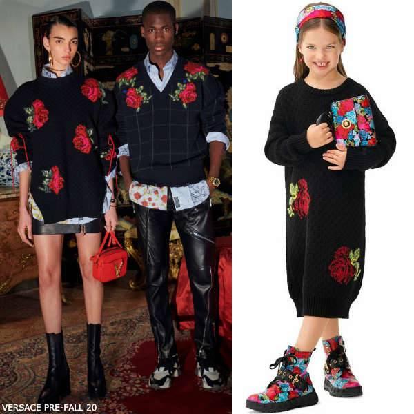 Young Versace Girls Mini Me Black Rose Intarsia Wool Sweater Dress
