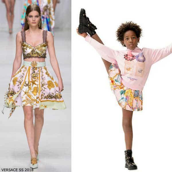 Young Versace Girls Mini Me Pink Eventail Fan Print Skirt Pink Versace Scent Sweatshirt