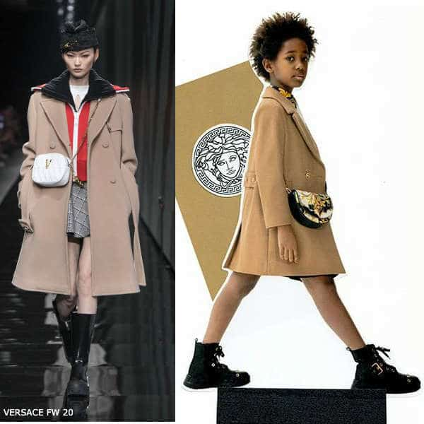 Young Versace Kids Mini Me Brown Wool Double Breasted Coat