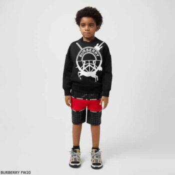 Burberry Boys Black Unicorn Sweatshirt & Black Houndstooth Check Red Stripe Shorts