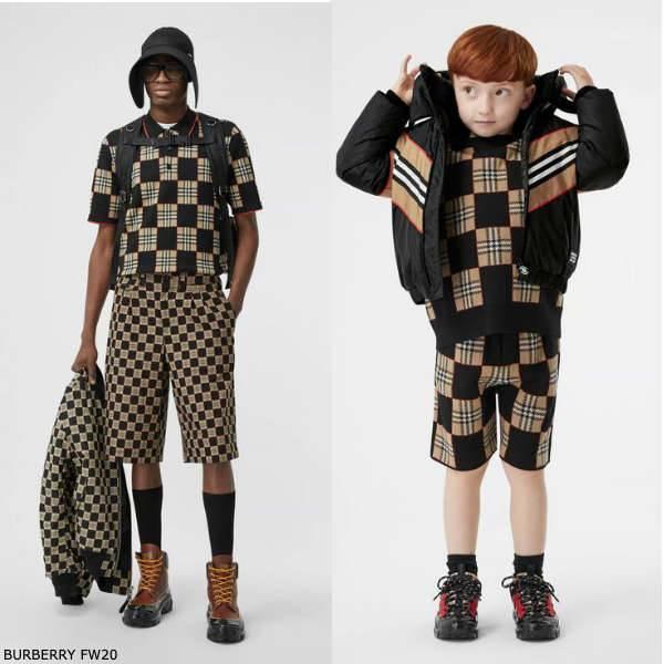 Burberry Boys Mini Me Black Beige Chequer Merino Wool Sweater Shorts