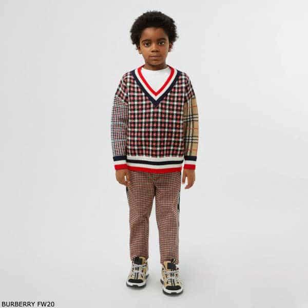 Burberry Boys Red & Beige Check Merino Wool Sweater