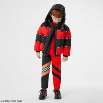 Burberry Boys Red & Black Logo Tape Down Padded Jacket